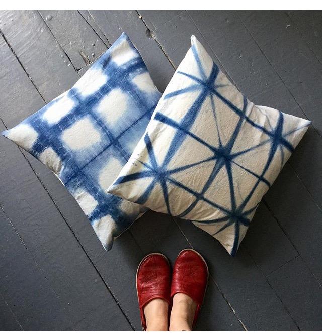 Indigo shibori dyed pillows by Mags Kandis.