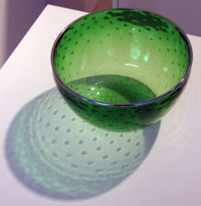 Green bowl by glass blower Mark Armstrong of Armstrong Glassworks in Wellington, ON