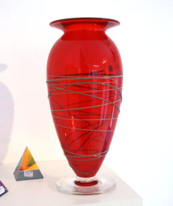 Red vase by glass blower Mark Armstrong of Armstrong Glassworks in Wellington, ON
