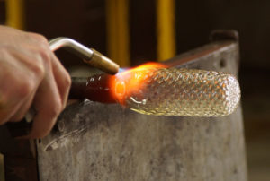 Beginnings of a tumbler - glass blower Mark Armstrong of Armstrong Glassworks in Wellington, ON