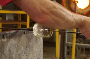 Nearly finished the tumbler - glass blower Mark Armstrong of Armstrong Glassworks in Wellington, ON